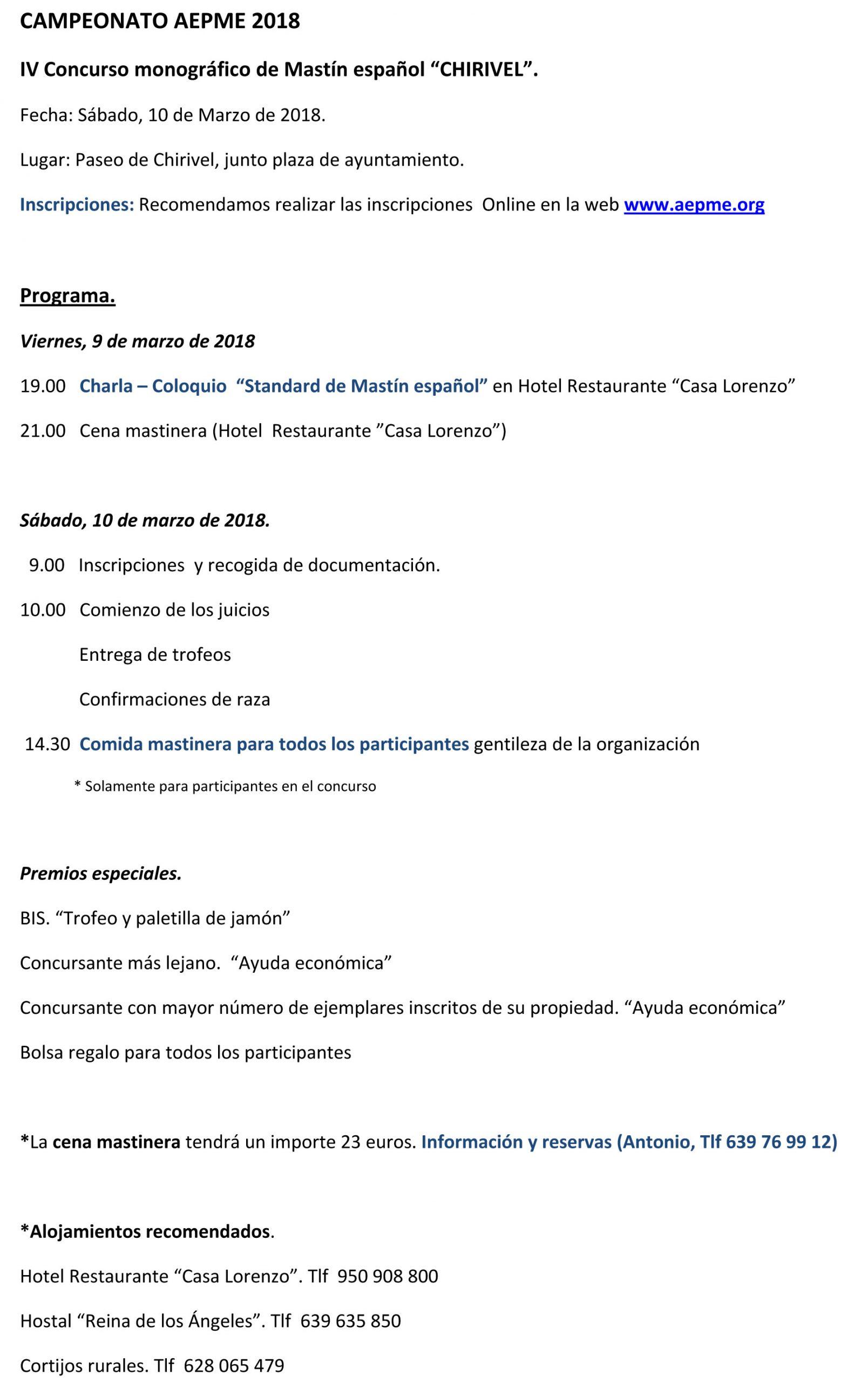 Programa Concurso Chirivel 2018
